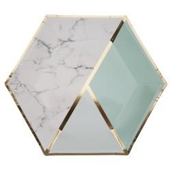 Grandes assiettes menthe et marbre x8