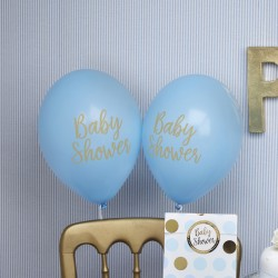 8 Ballons baby shower bleu et or