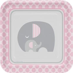 Assiette éléphant rose x8