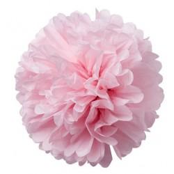 Pompons en papier de soie rose