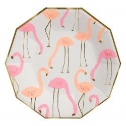 Grandes assiettes flamants roses x8