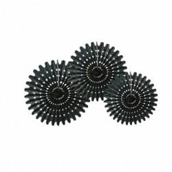 3 Rosaces noir 20/30/40 cm