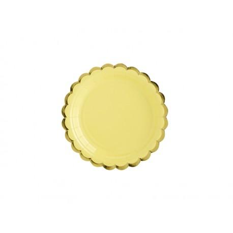 6 Assiettes jaunes et or - 18cm