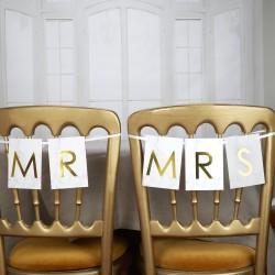 Pancarte Mr & Mrs effet marbre