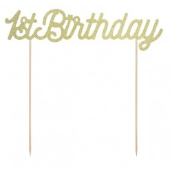 """Cake topper """"1st birthday"""" paillettes dorés"""