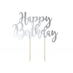"Cake topper argenté ""happy birthday"""