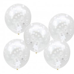 5 Ballons confettis blancs