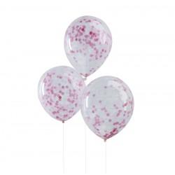 5 Ballons confettis roses